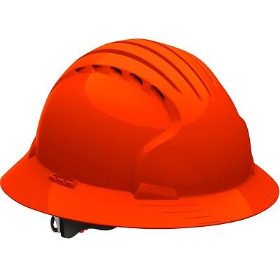 Jsp Vented Full Brim Hard Hat With 6 Point Ratchet Suspension Hi-vis Orange