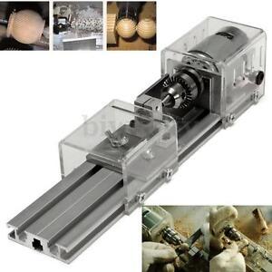 80W 24VDC Mini Lathe Beads Polisher Machine Woodworking Wood DIY Rotary Tool Set
