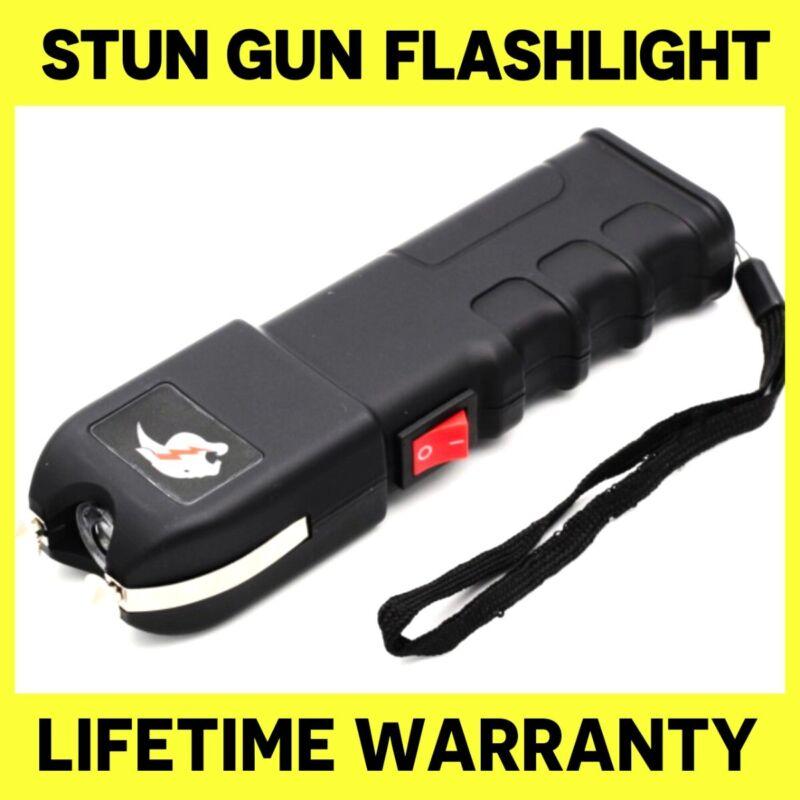 Tactical Stun Gun 928 180 BV Heavy Duty Rechargeable With LED Flashlight - Black