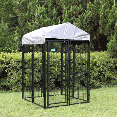 4x4x6 ft Welded Wire Dog Kennel Outdoor Cover Protection Cage Pen Shade Steel