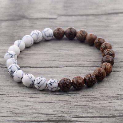 Christmas Bracelets (Fashion Charm 8mm Wood Beads Energy Yoga Reiki Women Men Bracelets Xmas)
