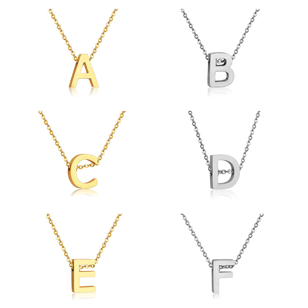 Stainless Steel Women's Unisex 18 Inch Necklace Pendant Lett