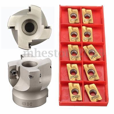 50mm 2 Face Milling Cutter Cnc End Mill Bap400r-50-22-4f 10x Apmt1604 Inserts