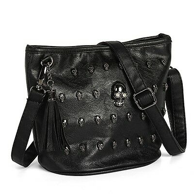 New Women leather Skull Studs Punk Goth Tassels Messenger Shoulder Handbag Bag