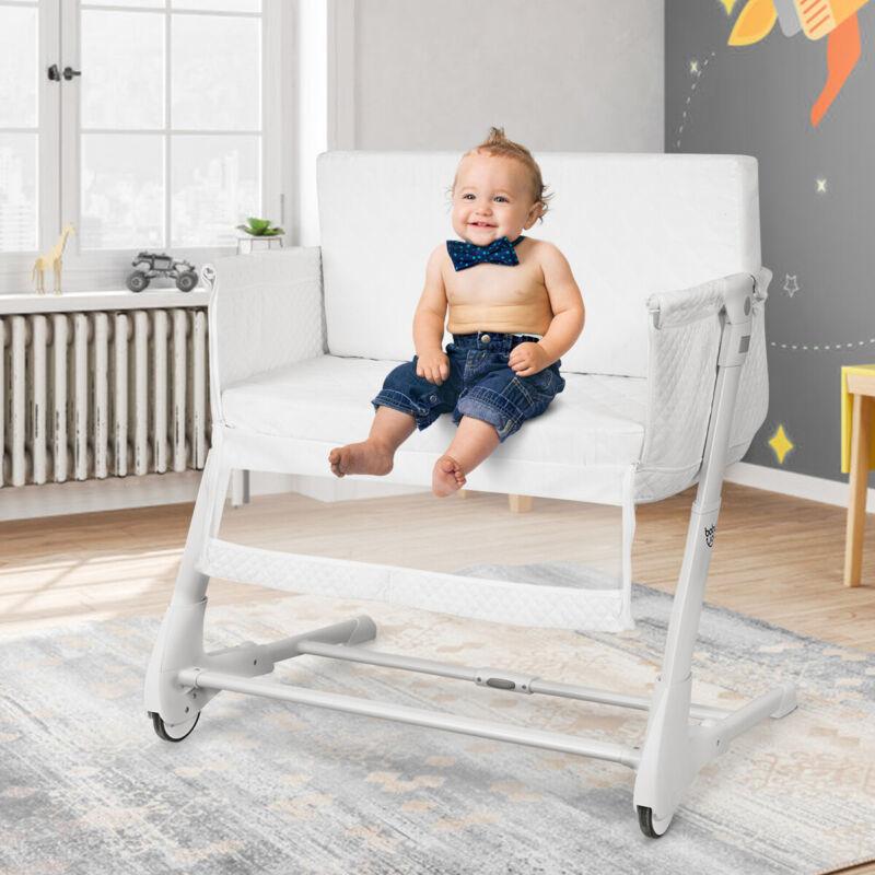 Baby Side Bassinet & Bedside Sleeper w/Washable Mattress Height Adjustable White