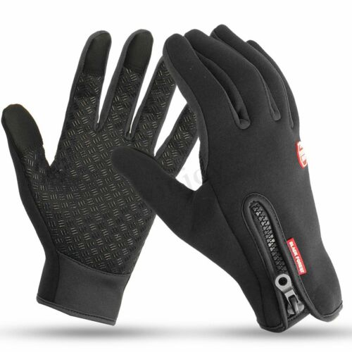 Winter Warm Gloves Fleece Lined Windproof Waterproof Touch Screen Silicone Palm