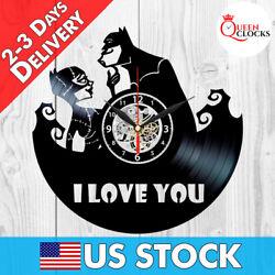 Batman Catwoman Comics Vinyl Record Wall Clock Arkham Knight Decor I Love You