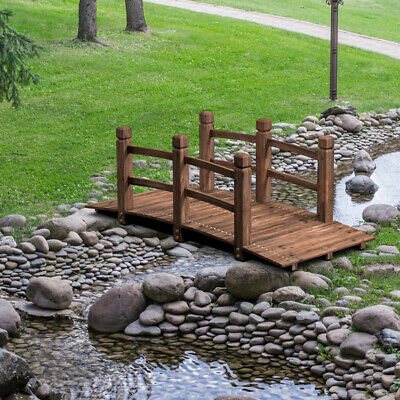 5' Wooden Bridge Stained Finish Decorative Solid Wood Garden Pond Arch -