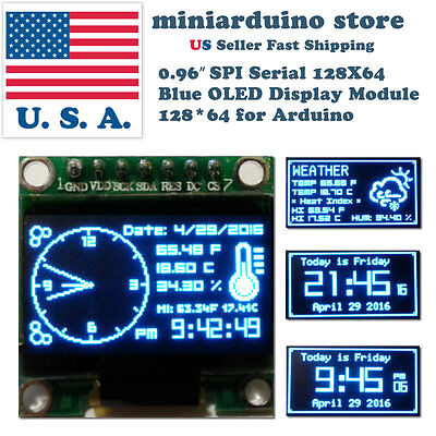 0.96 Spi Serial 128x64 Oled Lcd Led Display Module 12864 Blue Ssd1306 Arduino