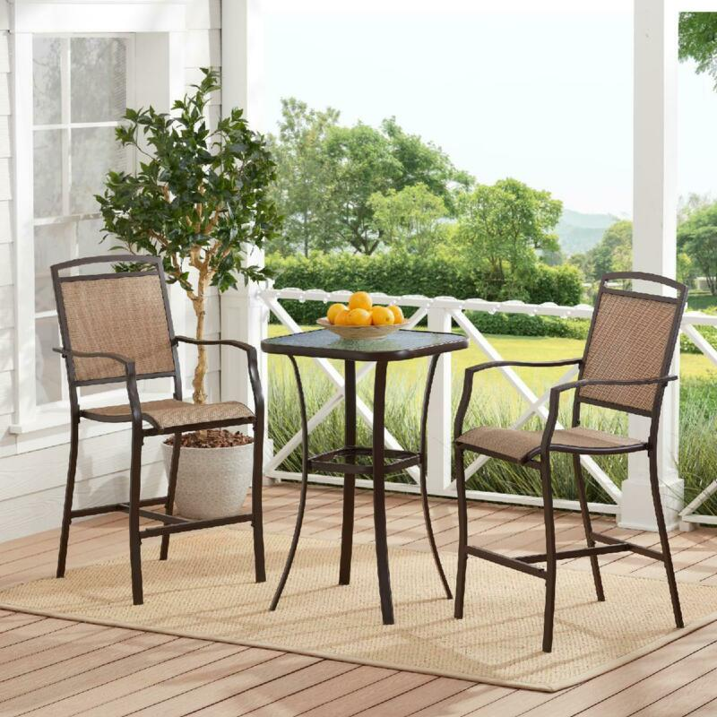 Garden Furniture - 3-Piece Patio Bistro Set Outdoor Table Chairs Garden Deck Pool Seating Furniture