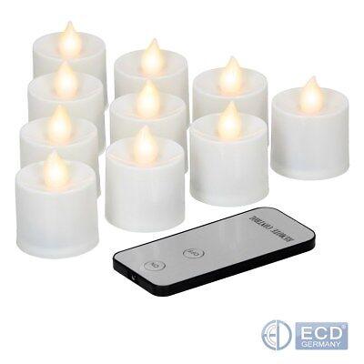 Batterie Kerzen (10 x LED Teelichter mit Fernbedienung Flammenlos inkl. Batterien Teelicht Kerzen)