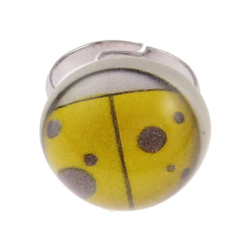 Wholesale Bulk Lot 8 Tempered Convex Glass Lady Bug Adjustable Rings Jewelry