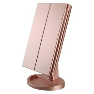 RICHEN DeWEISN Tri-Fold Lighted Vanity Makeup Mirror with 21