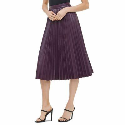 CALVIN KLEIN Women's Aubergine Faux-leather A-line Midi Pleated Skirt 10 TEDO
