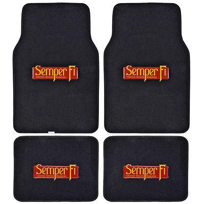 Brand New 4pcs Set Marine Semper Fi Front Rear Car Truck Carpet Floor Mats