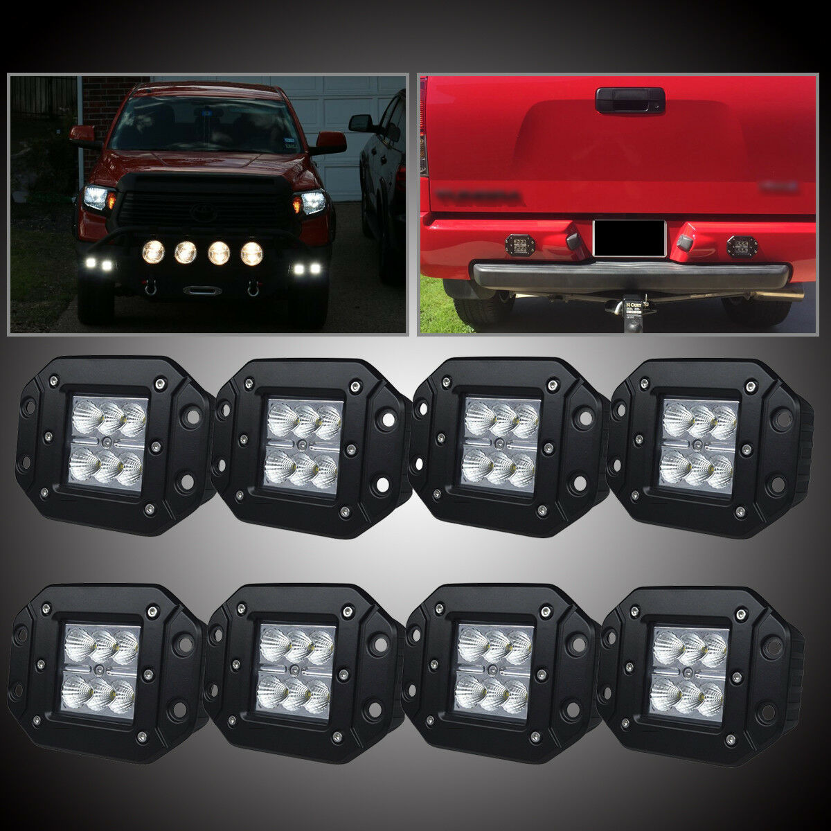 Details About Universal Front Rear Bumper Backup Reverse Flush Mount Led Lights Fog Lamp 8 Pcs