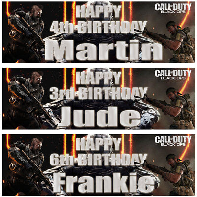 2 Personalised Birthday Banner Call of Duty Game Kids Children Boy Party Poster  (Call Of Duty Birthday Party)