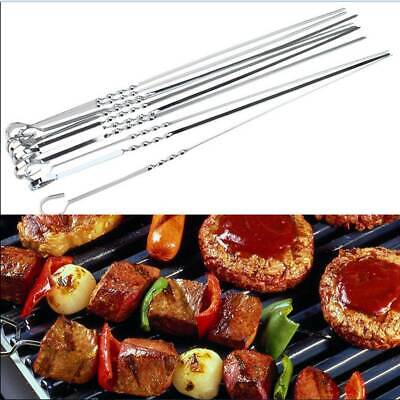 10PC BBQ SKEWER STAINLESS STEEL BARBECUE KEBAB STICKS FOOD GRILL COOKIN TANDOORI
