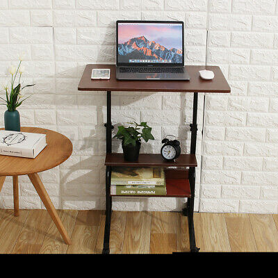 Adjustable Height Pc Computer Rolling Desk Laptop Table Cart Mobile Bed Stand Us