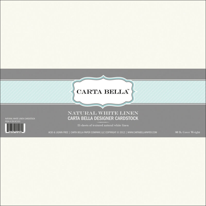 "Carta Bella Designer 80lb Cover Cardstock 12""X12""-Natural White Linen"