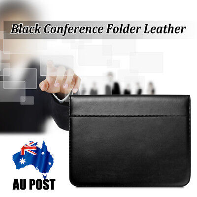 A4 Zipped Conference Folder Business Pu Leather Document Case Portfolio Black