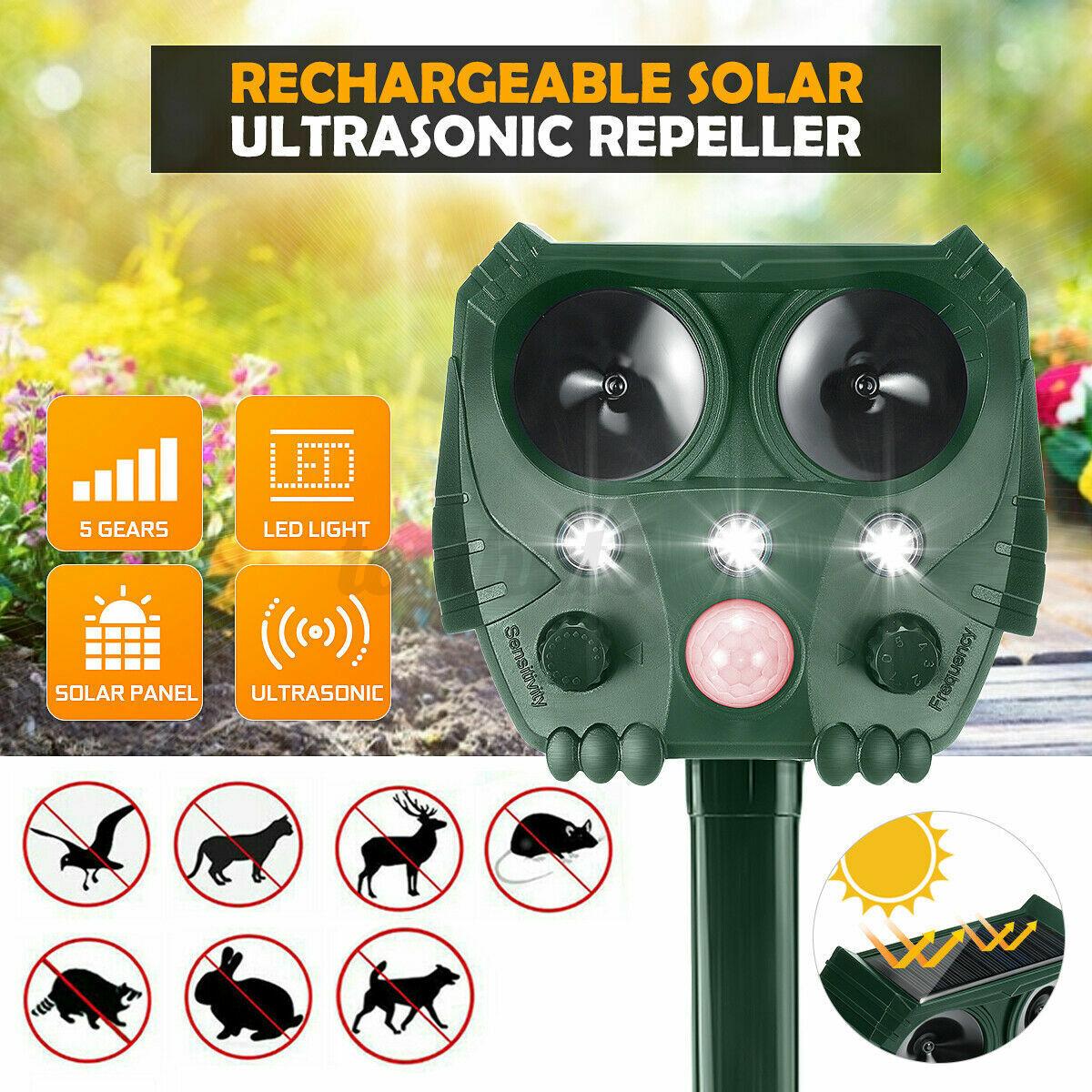 Solar Ultrasonic Power Pest Animal Repeller Repellent Garden