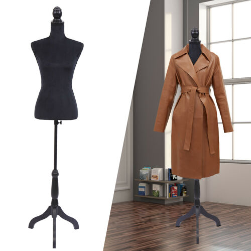Black Female Mannequin Torso Dress Clothing Form Display w/Tripod Stand