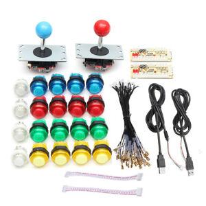 2 Player Arcade Control Joysticks 20 LED Illuminated Buttons DIY Parts Kit MAME