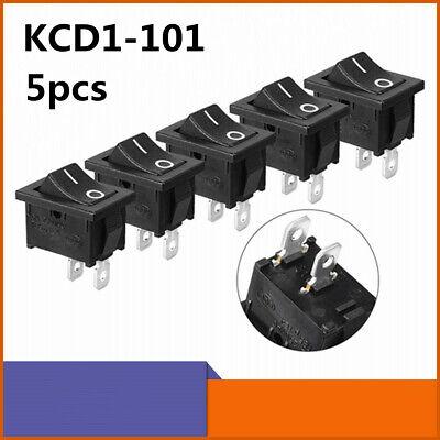 5pcs Rocker Switch Kcd1-101 2 Pins Onoff Spst Snap In Panel Mount Rocker Switch