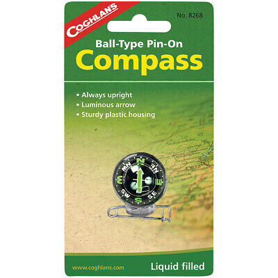 Coghlan's Ball-Type Pin-On Compass, Liquid Filled, Survival Camping Emergency