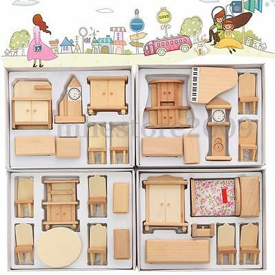 29 Pcs Set Dollhouse Miniature Unpainted Wooden Furniture Suite 1/24 Scale Model