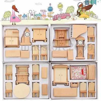 29Pcs Set Dollhouse Miniature Unpainted Wooden Furniture Suite 1/24 Scale Model
