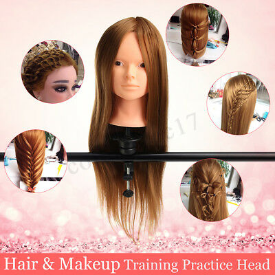 30% Real Human Hair Makeup Hairdressing Training Head Mannequin Doll &Clamp new