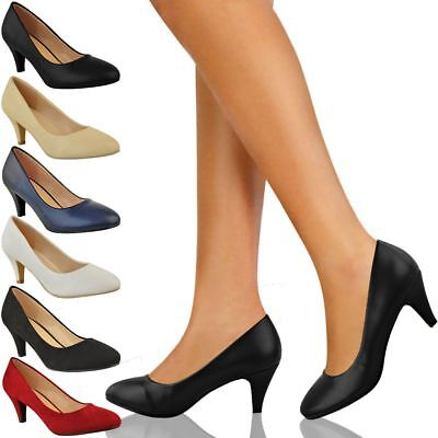 Womens Ladies Low Heel Court Shoes Comfort Work Office Forma