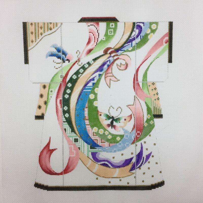 Sophia Handpainted Needlepoint canvas Asian Oriental Kimono Obi Ribbons Butterfl