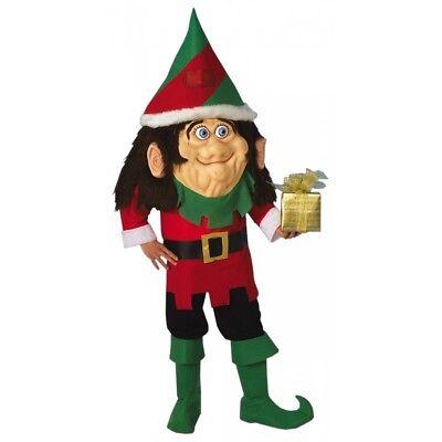 Santa's Elf Costume Adult Christmas Mascot Fancy Dress - Santa Mascot Costume