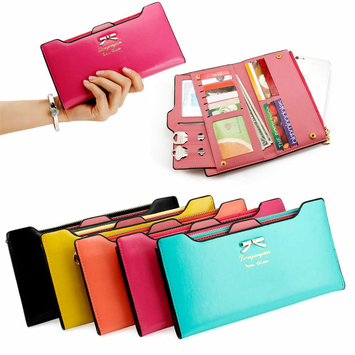 Men's Leather Wallet Bifold ID Card Holder Checkbook Long Clutch Billfold Purse Clothing, Shoes & Accessories