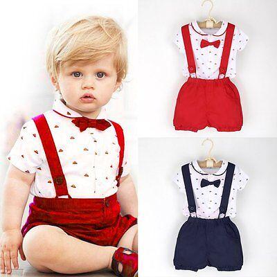 (2PCS Kids Baby Boy Toddler Romper T-shirt+Bib Pants Overalls Clothes Outfits Set)