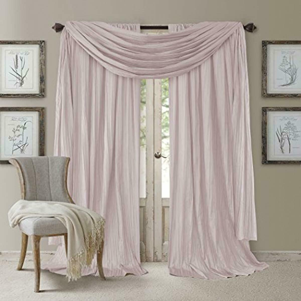 Set 2 Blush Pink Faux Silk Curtains
