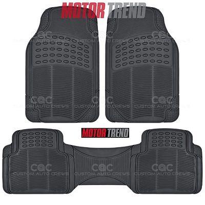 Car Rubber Mat - Black 3 Piece Set Floor Mat Odorless Toxic Free Heavy Duty