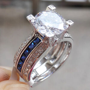 220 ct blue sapphire round 925 sterling silver wedding ring set womens size 9 - Blue Wedding Ring