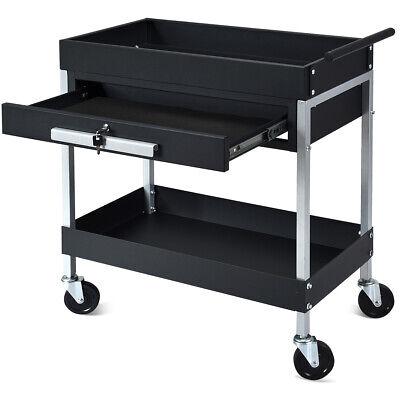 2 Shelf Tool Cart Utility Carrier Service Heavy Duty W Lock Drawer Wheels