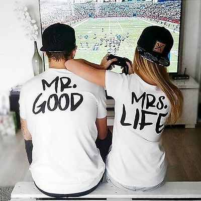 Mr Good Mrs Life T Shirt Valentines Gift Couple Love Girlfriend Boyfriend Wifey