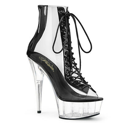 Black Clear Platform Plastic Stripper Heels Lace Up Stiletto Club Ankle Boots Stiletto Heels Platform Stripper