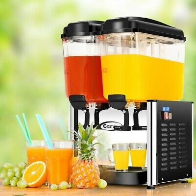 Juice Dispenser 9.5 Gallon 2 Tanks Stainless Steel Cold Beverage Juice