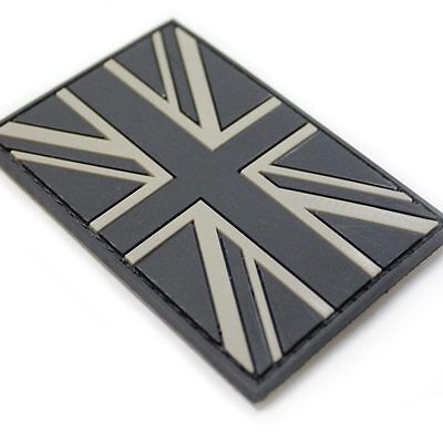 3D Rubber British Union Jack Velcro Backed Tactical Police Patch Black Subdued