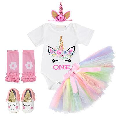 Baby Unicorn Costume (Baby Girls Unicorn 1st Birthday Party Set Cake Smash Costume One Year)