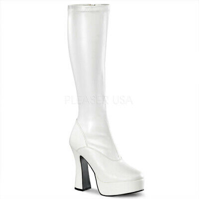 Pleaser Electra Boots (Pleaser ELECTRA-2000Z Women's White Stack Heels Platform Knee Boots GoGo)