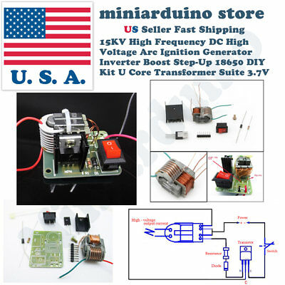 15kv High Voltage Inverter Generator Spark Arc Ignition Coil Module Diy Kit 3.7v