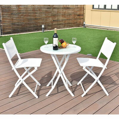 Garden Furniture - 3 PCS Folding Bistro Table Chairs Set Garden Backyard Patio Furniture White New